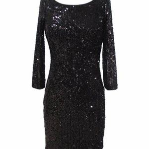 CACHE Dress 2 Sequin Navy Blue Long Sleeve Fitted